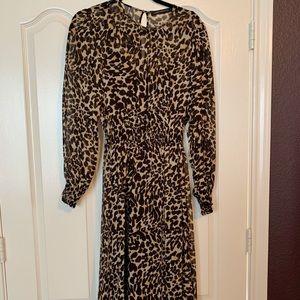 Zara Leopard Midi Dress SZ S